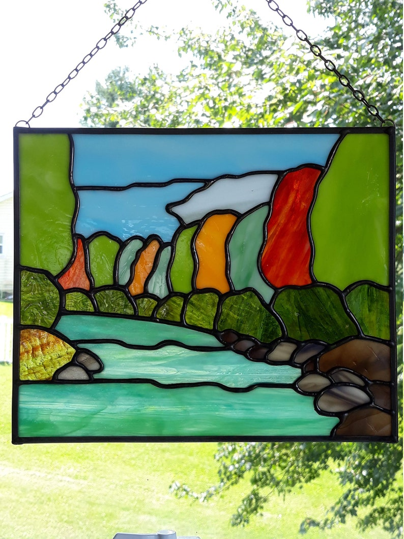 Stained Glass Autumn Stream panel