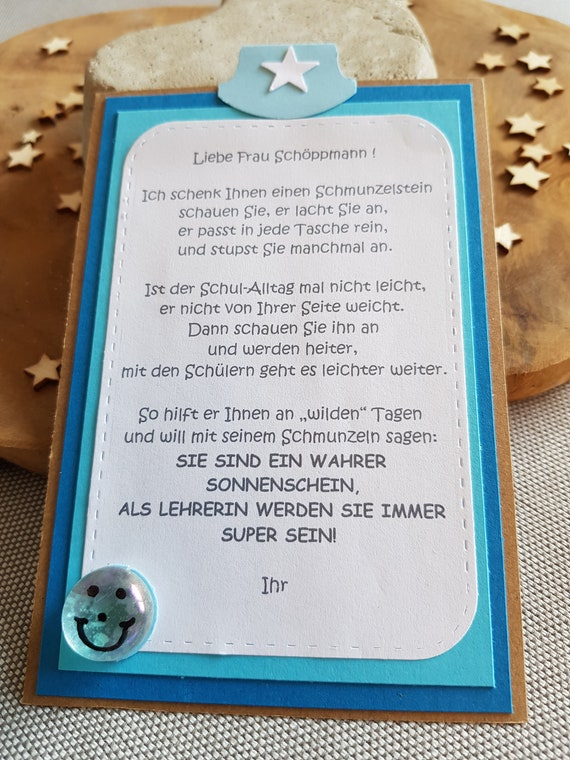 Abschiedsgeschenk Lehrerin Lehrer Abschluss Grundschule Schmunzelstein Personalisiert