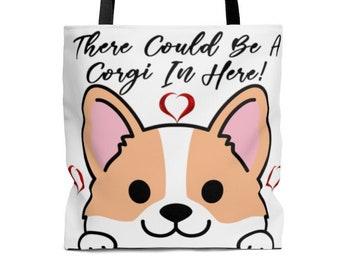 Dog Lover Gift USA Dog Tote Ricco the Corgi Canvas Tote Bag USA Doggy Bag