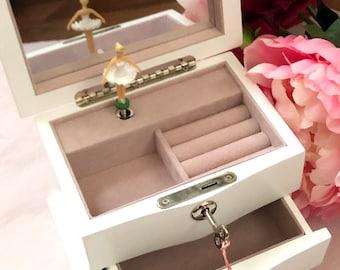 Personalised WOODEN ballerina musical jewelry box Ballerina Music box,baptism gift,christening gift, gift for girl, nursery decor