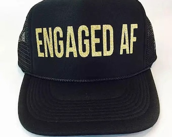 1e4db195 Engaged AF Trucker Caps! Engagement party engagement holiday funny wedding  announcement hens bachelor bachelorette
