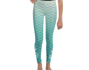 84d8aede00668 Kids Youth Mermaid & Peacock Leggings Dance or Play clothes