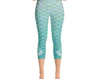 7e1486c32b7d9 Mermaid & Peacock Yoga Capri Leggings