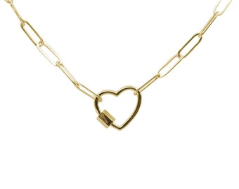 Take My Heart Gold Chain Link Necklace - Paperclip Cable Chain - Cute Chunky Gold Chain Link Necklace with Heart Charm
