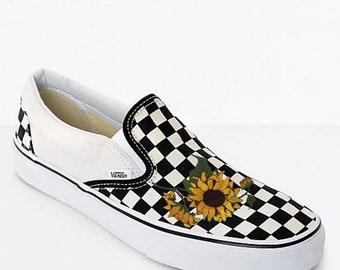 050b697f1b5ad1 Slide-On Checkered Vans With Sunflower