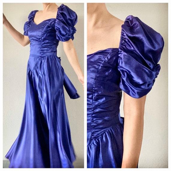 1980's satin prom dress royal purple puffed should
