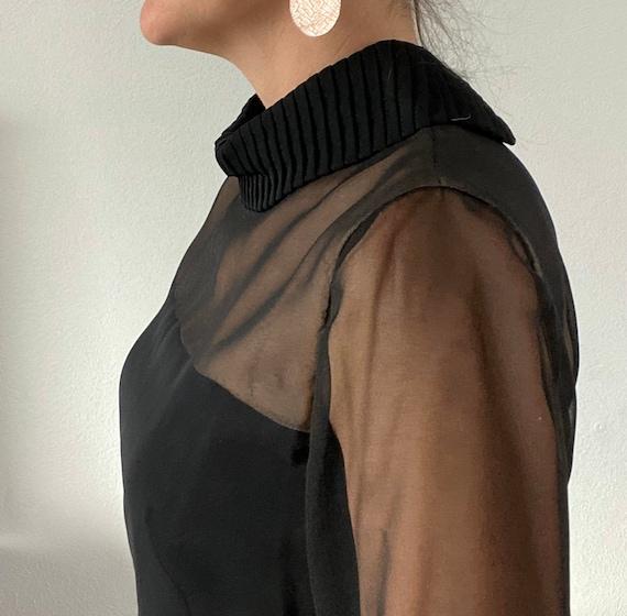 1960s Travilla little black dress classic pleated… - image 4