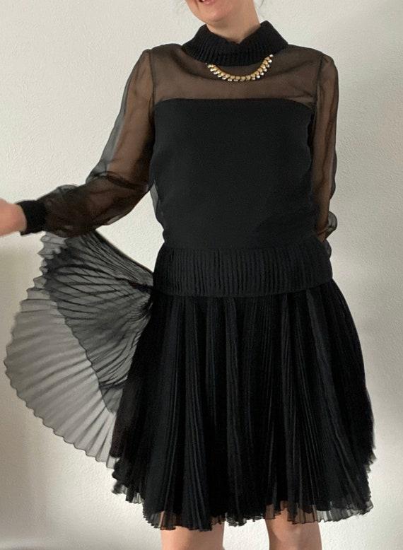 1960s Travilla little black dress classic pleated… - image 10