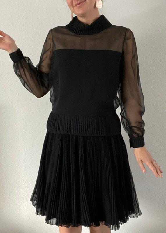 1960s Travilla little black dress classic pleated… - image 2