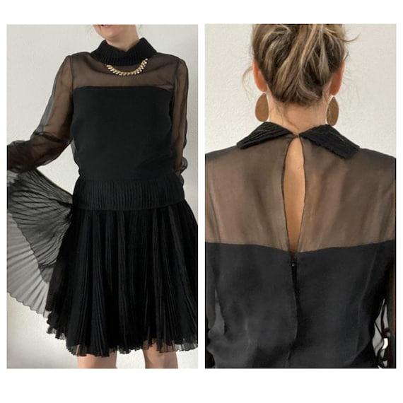 1960s Travilla little black dress classic pleated… - image 1