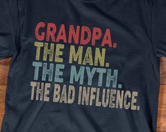 863df446 Father's Day Grandpa The Man The Myth The Bad Influence Dad Papa Daddy  Grandparents Grandfather Gifts T-Shirt V-Neck Tank