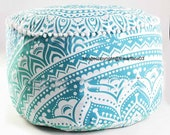 Handmade Cotton Pouf Cover Ombre Mandala Indian Pouf Ottoman Cover Round Poof Pouffe Foot Stool Floor Pillow Chair Pouffe Cover Decor