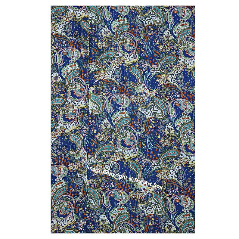 Indian Blue Paisley Kantha Quilt Cotton Throw Blanket Hand Stitched Gudari Kantha Bed Cover Kantha Quilt