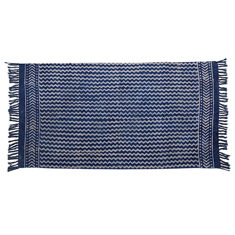 2x3 Feet Indigo Rug Hand Woven Rug Indigo Cotton Rug image 0