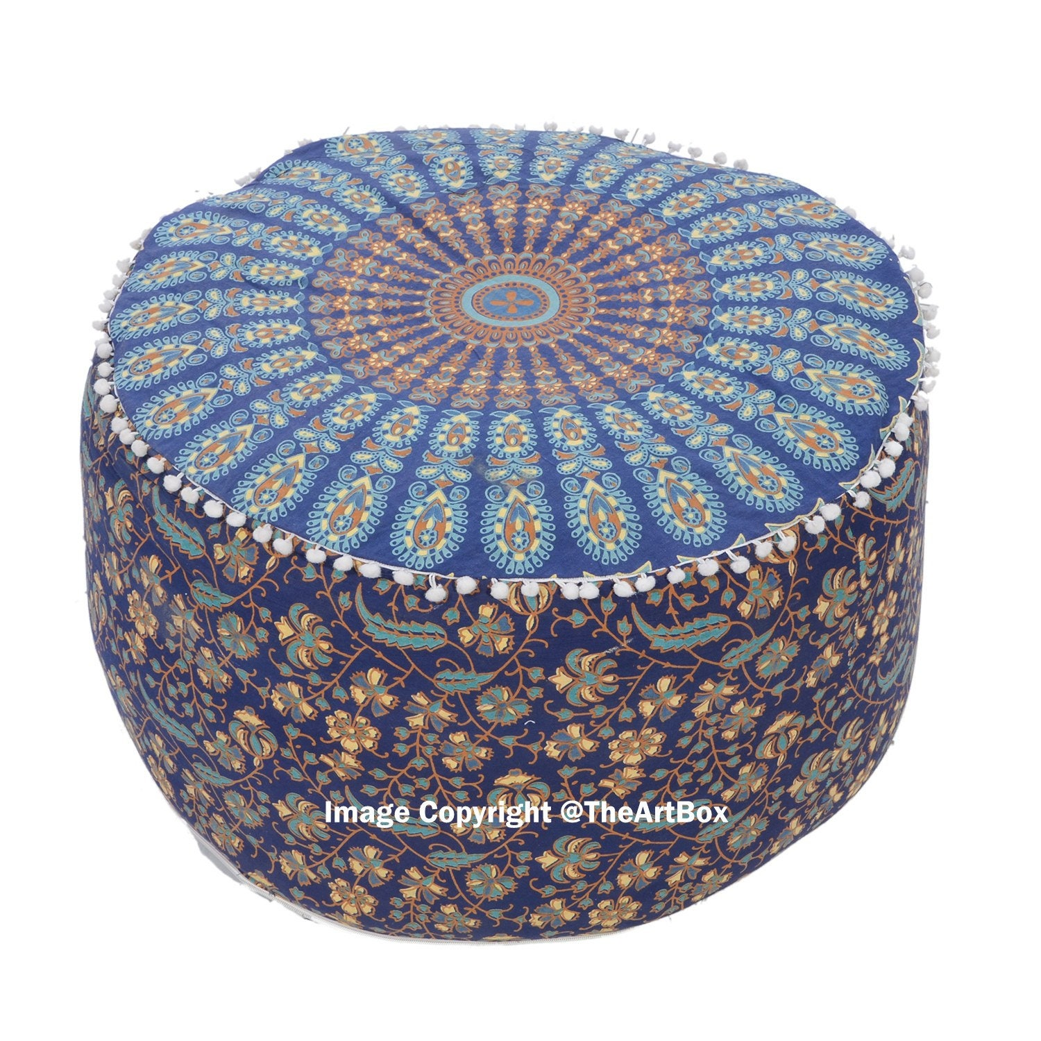Fantastic Meubels Blue Cube Peacock Floral Pouf Cover Living Room Gmtry Best Dining Table And Chair Ideas Images Gmtryco