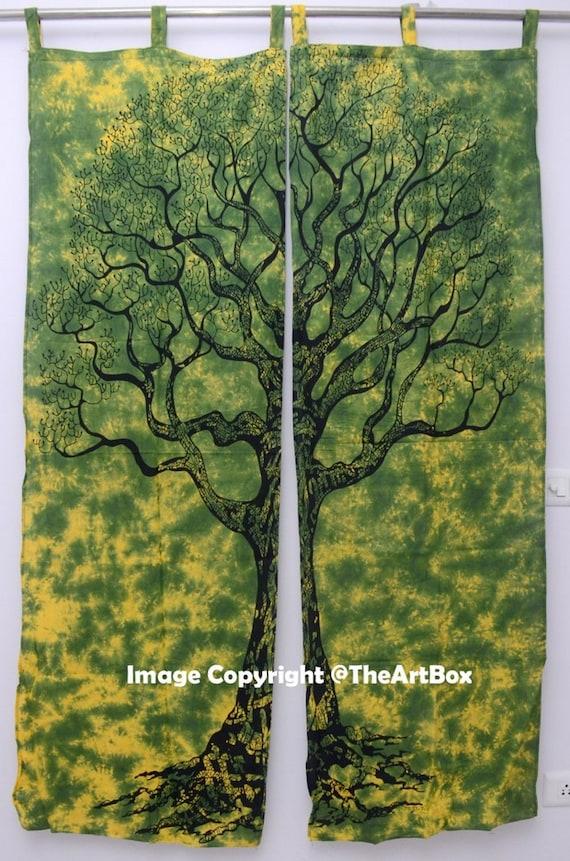 Door Decor Wall Drapes Window Indian Ombre Tree of Life Mandala Curtains Room