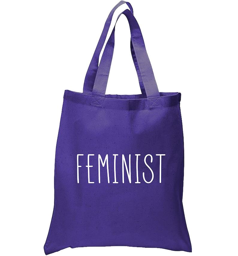 Black or Purple FEMINIST Tote Bag