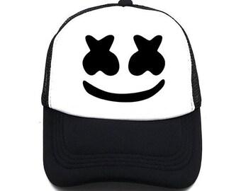 0dc6bdf2fa6ed Marshmello DJ Trucker Hat Foam Mesh Snapback Baseball Cap Curved Bill  Cosplay Party Flexfit Helmet Face NEW in Box