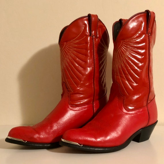Laredo Red Leather Cowboy Boots SZ8M