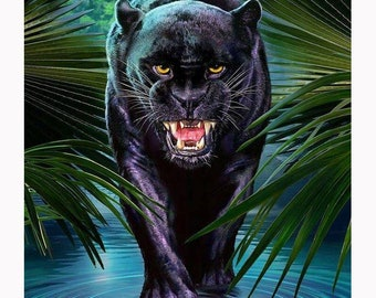 eb1c8de55 5d diy full square diamond painting panther wall art animals rhinestone  pictures diamond embroidery kit mosaic stickers wall decal posters