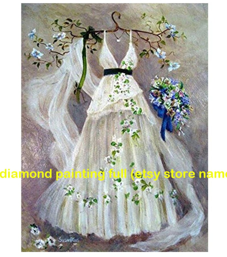 wedding dress diamond painting flower daimond embroidery pictures bridal shower diamamt mosaic stickers wall decal canvas paint poster gift