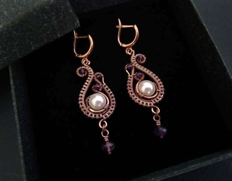 Shell pearl wire wrapped earrings with amethysts renaissance copper earrings