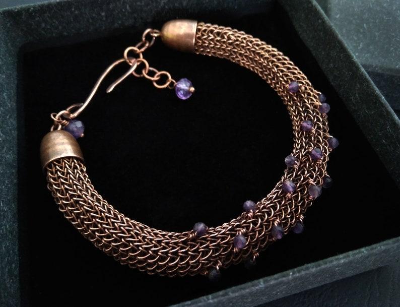 copper wire wrapped bracelet Amethyst viking knit bracelet