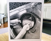 Washing Rice Greeting Card