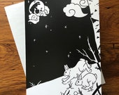 Moon Rabbits in Winter - Korean myth - Greeting Card