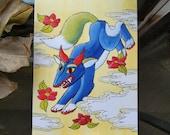 Deerfox Minhwa - Korean Folk Art - Greeting Card