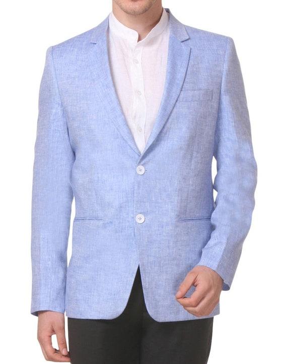 Rotta di collisione Melanzana Biblioteca del bagagliaio  Mens Light Blue Linen Blazer Sport Coat Jacket | Etsy