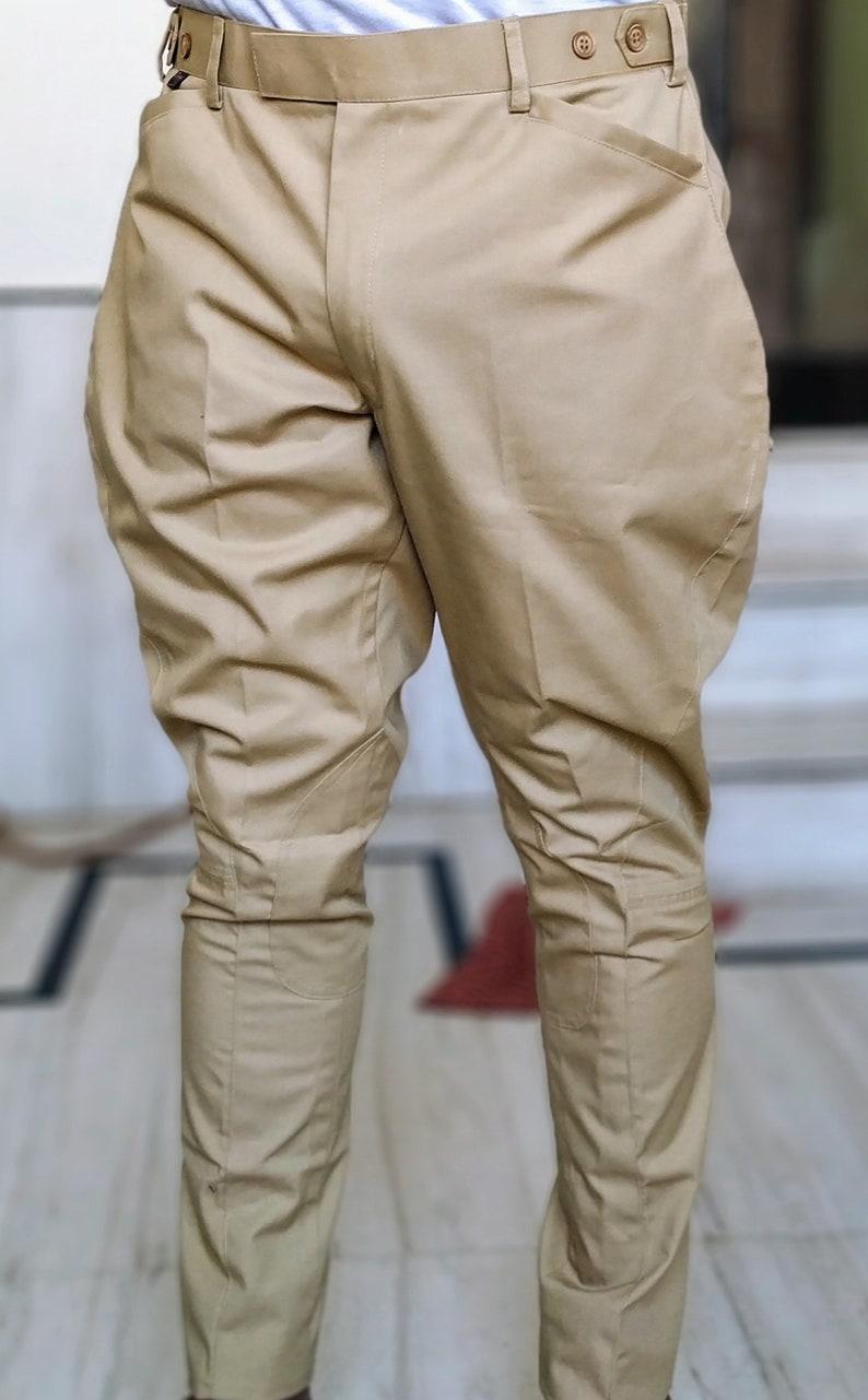 1920s Men's Pants, Trousers, Plus Fours, Knickers Men/women Equestrian Breeches Riding Jodhpuri Cotton Pants Khaki Breeches Jodhpurs Indian Breeches Pants $85.00 AT vintagedancer.com