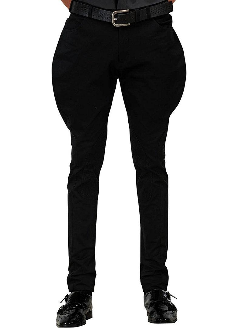Men's Steampunk Pants & Trousers Horse Riding Black Cotton Breeches Jodhpuri Pants Sports Trouser Baggy Pants Royal Jodhpurs $85.00 AT vintagedancer.com