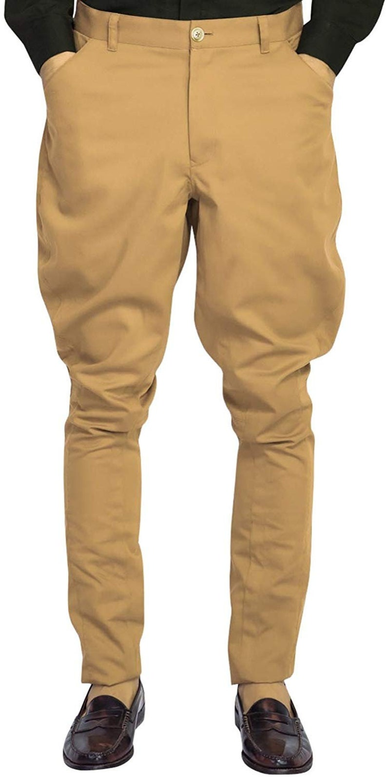 Men's Vintage Pants, Trousers, Jeans, Overalls Men/women Equestrian Jodhpurs Pants Camel Cotton Jodhpuri Breeches Baggy Pant $80.00 AT vintagedancer.com