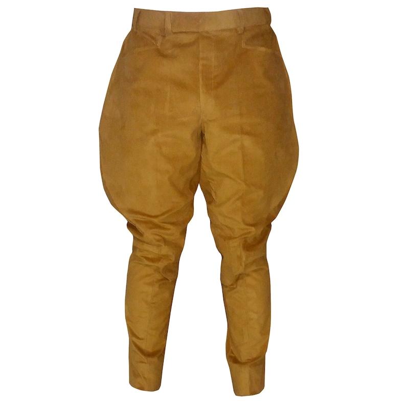 Men's Vintage Pants, Trousers, Jeans, Overalls Brown Corduroy Equestrian Jodhpurs Pants Designer Cotton Jodhpuri Trousers Breeches Baggy Pant $95.00 AT vintagedancer.com