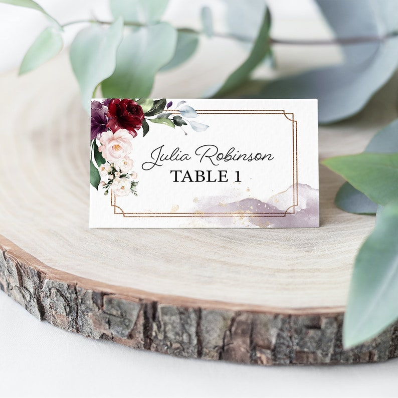 Wedding Printable Editable Template Corjl Watercolor Florals Burgundy Floral Wedding Place Card