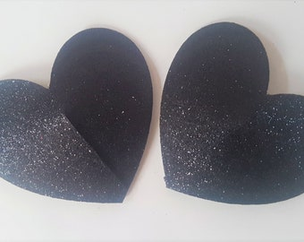 983c13580 Black Glitter Heart Nipple Pasties Festival Stickers Body Stickers Nipple  Covers