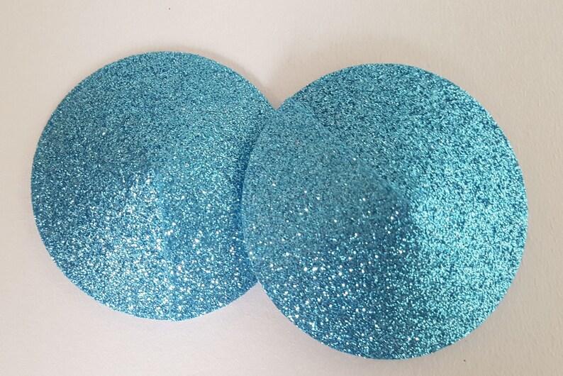 Light Blue Glitter Round Nipple Pasties Festival Stickers Body Stickers Nipple Covers