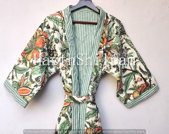 Traditional Kimono Cotton Wear Dress Gray Flower Printed Quilted Robe Jackets Womens Wear Quilted Kimono Coats FREE SHIPPING !
