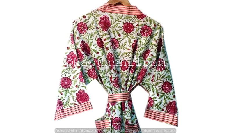 Cotton Kimono Robe Indian Flower Printed Robe Bridesmaid Gift Women Wear Dress Dressing Gown LightWeight Kimono FREE SHIPPING !