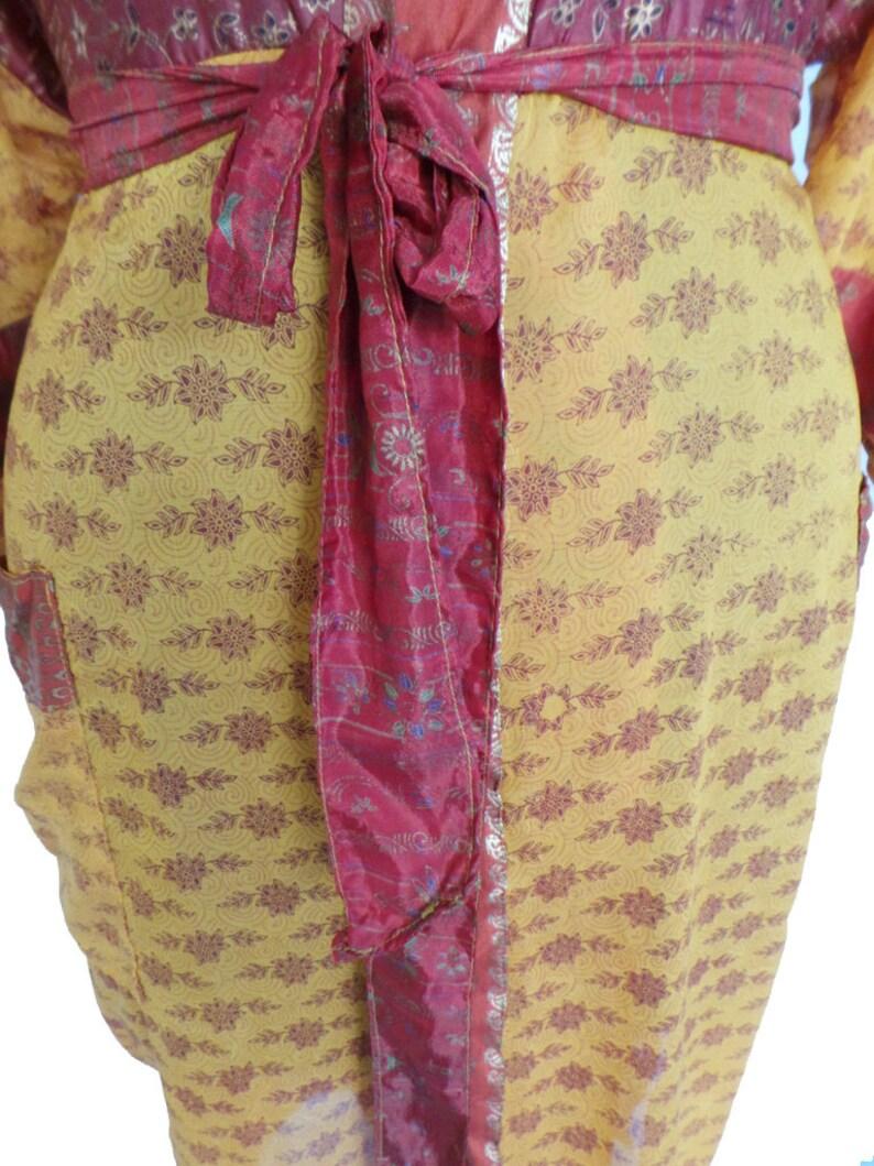 Nightdress Kimono Vintage Silk Sari robe Bathrobe kimono Sleepwear robe ak 400
