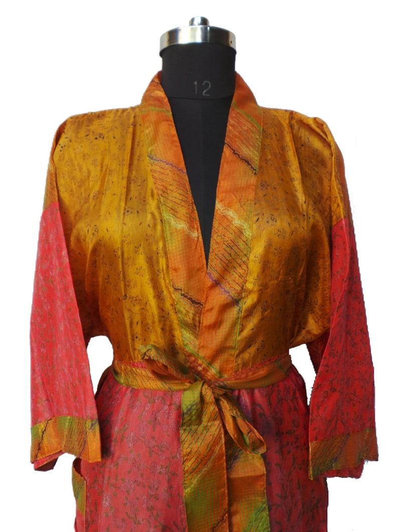 Night robe Indian Vintage Silk Sari robe Nightdress Kimono Bathrobe kimono  AK 679