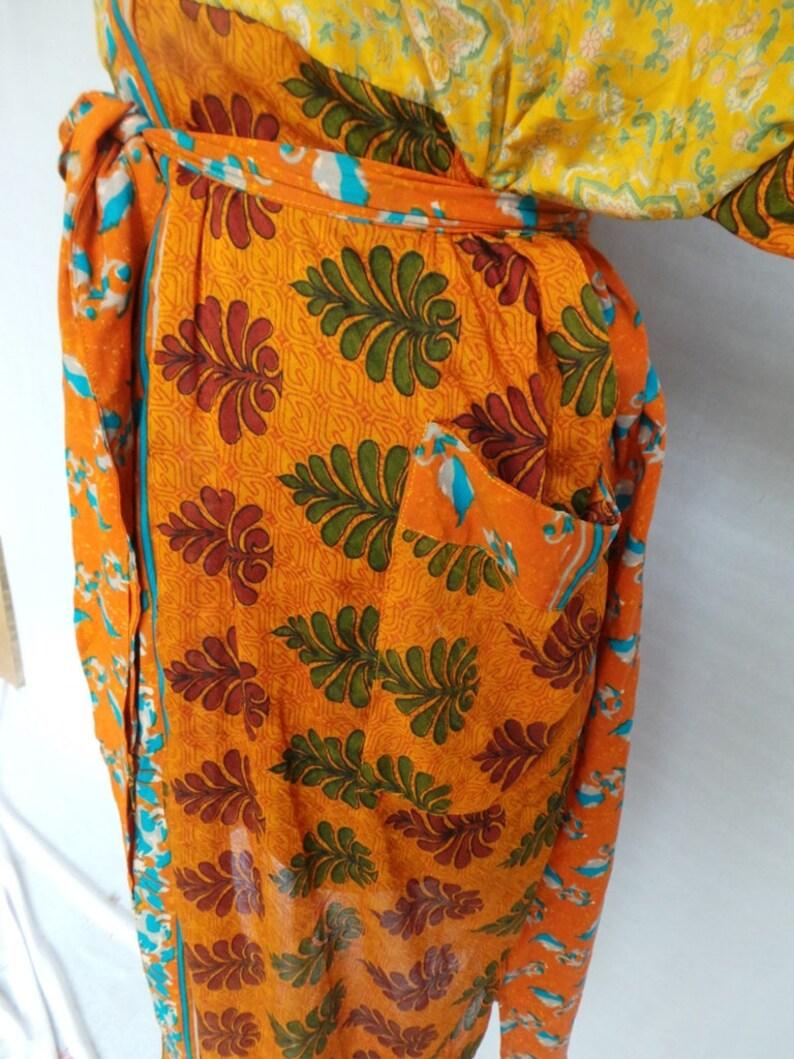 Sleepwear robes Indian Vintage Silk Sari robe Nightdress Kimono Bathrobe kimono AK 146