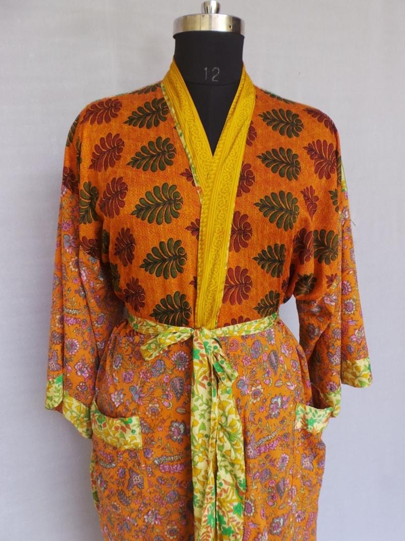 Nightdress Kimono Vintage Silk Sari robe Bathrobe kimono Sleepwear robe AK 130