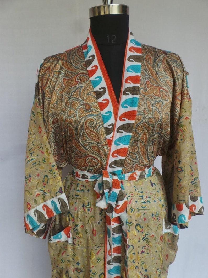 Nightdress Kimono Vintage Silk Sari robe Bathrobe kimono Sleepwear robe AK 302