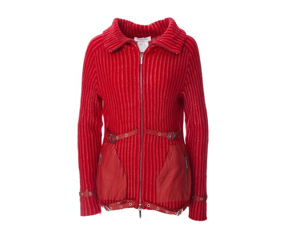 Christian Dior vintage wool and leather cardigan