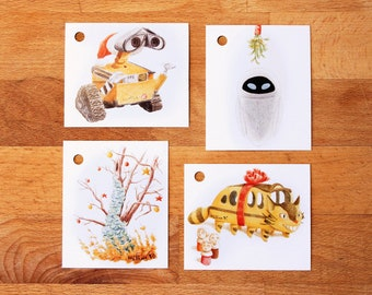 Gift tag for Christmas nature or Wall-E illustrated