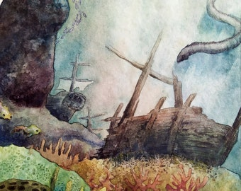 Original watercolor illustration about sea monster and wrecks