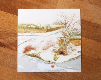 Greeting Card illustrations of Christmas mysterious snowy landscape