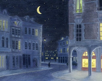 Original illustration Soothing night city